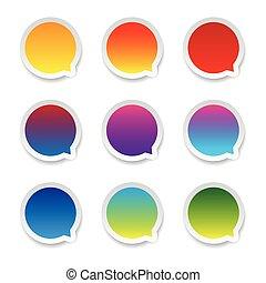 vide, bulle discours, ensemble, autocollant, coloré