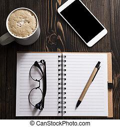 vide, cahier, café, et, téléphone, sur, a, bureau