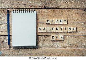 vide, cahier, et, bois, texte, pour, heureux, valentin, jour, sur, bois, arrière-plan.