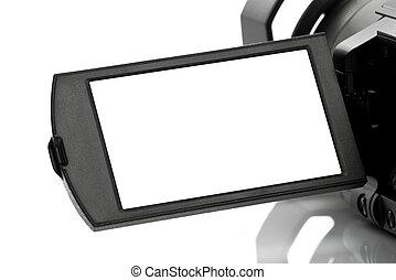 vide, caméscope, handycam, exposer