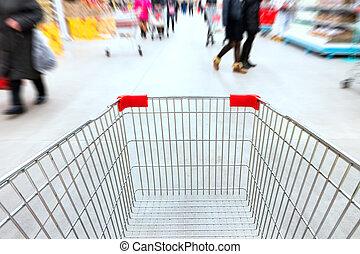 vide, chariot, dans, supermarché