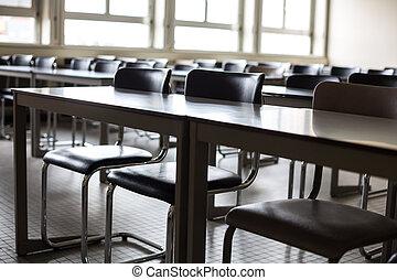 vide, classe, à, chaises, et, bureaux