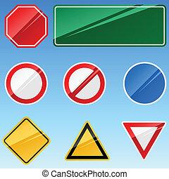 vide, collection., vecteur, panneaux signalisations