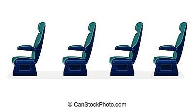 vide, concept, transport commun, sièges, fond blanc
