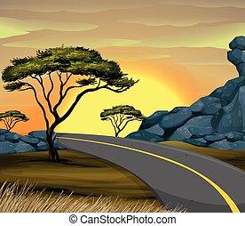 vide, coucher soleil, scène, route