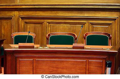 vide, court's, chaises, microphones., table, vendange, salle