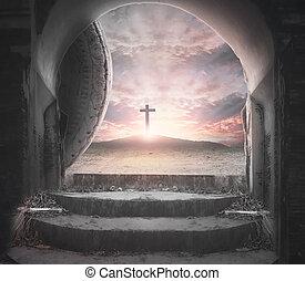 vide, croix, coucher soleil, fond, pâques dimanche, concept:, tombe