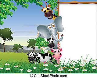 vide, dessin animé, animal, signe