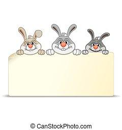 vide, dessin animé, lapins, trois, signe