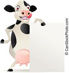 vide, dessin animé, vache, signe