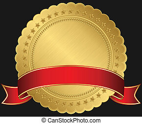 vide, doré, ruban, rouges, étiquette