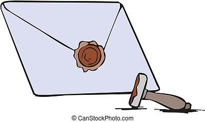 vide, enveloppe, lettre, cire