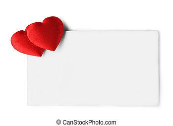 vide, etiquette don, à, rouges, hearts., isolé, blanc