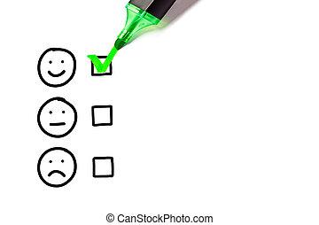 vide, excellent, service clientèle, évaluation, formulaire