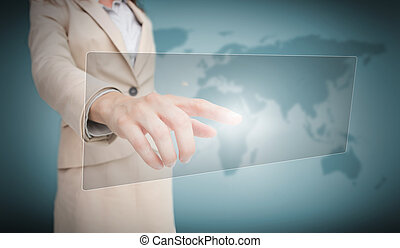 vide, femme affaires, toucher, panneau