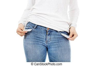vide, femme, jeune, poches