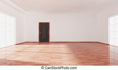 vide, fenêtre, porte, salle, parquet, intérieur