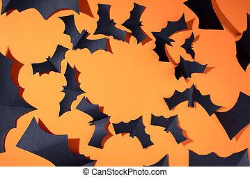 vide, fond, circle., chauves-souris, voler, noir, orange, ...