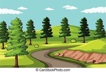 vide, fond, parc, route, paysage