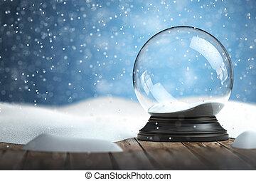 vide, globe, noël, fond, neige