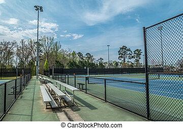 vide, gradins, courts tennis