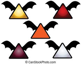 vide, halloween, ailes, signes