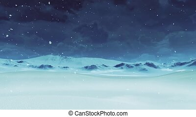 vide, hiver, -, déserter paysage, chute neige, neigeux