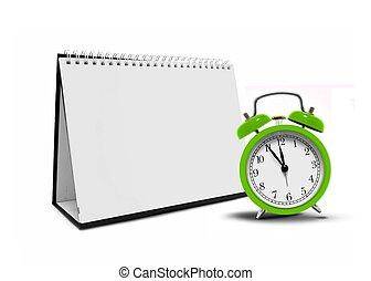 vide, horloge, calandre, bureau