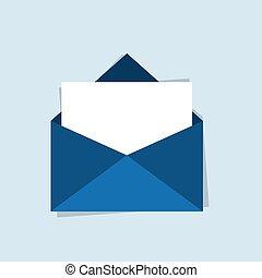 vide, icône, lettre, enveloppe