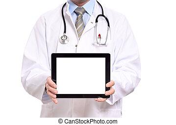 vide, informatique, tenue, tablette, docteur