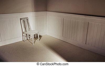 vide, intérieur, à, chaise, contre, mur