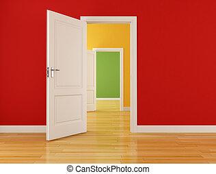 vide, intérieur, à, ouvert, portes