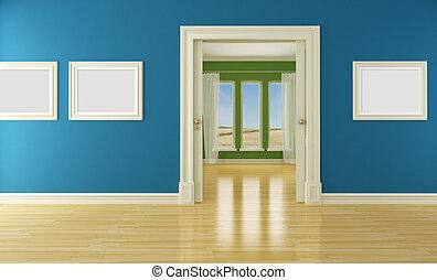 vide, intérieur, à, porte coulissante, et, fenêtre
