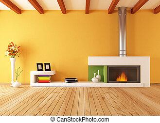 vide, intérieur, minimaliste, cheminée