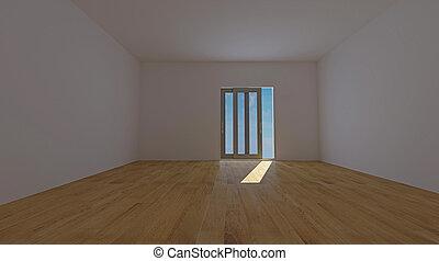 vide, intérieur, salle