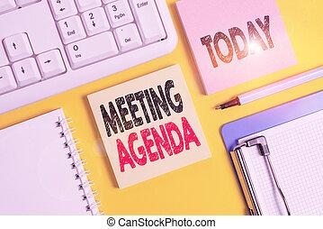 vide, jaune, participants, agenda., espace, écriture, texte, articles, liste, papiers, accomplir, réunion, copie, concept, signification, table., fond, écriture
