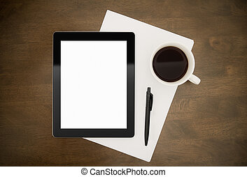 vide, lieu travail, tablette, numérique
