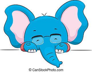 vide, lunettes, planche, tenue, éléphant