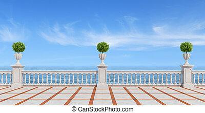 vide, mer, négligence, terrasse