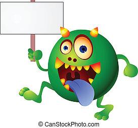 vide, monstre vert, signe