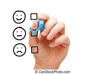 vide, moyenne, client, enquête, évaluation, formulaire