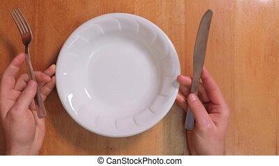 vide, nourriture, attente, obtenir, plaque