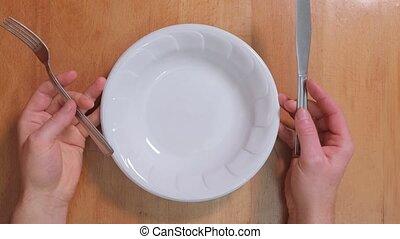vide, nourriture, plaque, attente, obtenir