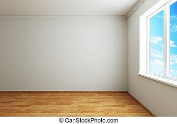 vide, nouveau, salle, à, fenêtre