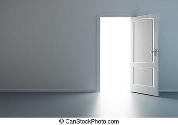 vide, nouveau, salle, à, ouvert, porte