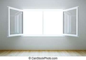 vide, nouveau, salle, à, ouvrir fenêtre