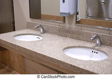 vide, nouveau, toilette, salle, public, propre