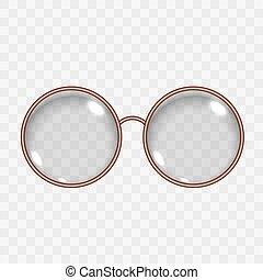 vide, oeil, translucide, arrondissez lunettes, lentille