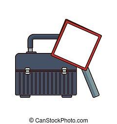 vide, outillage, icône, signe, avertissement, boîte