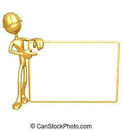 vide, ouvrier construction, signe
